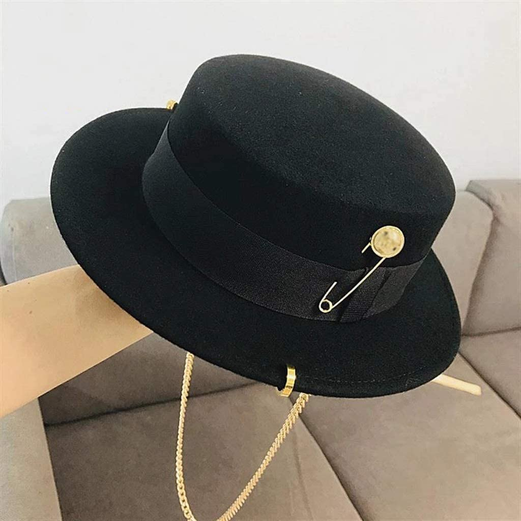 SPNEC Black Cap Female Hat Party Flat Top Hat Chain Strap and Pin Fedoras for Woman for Punk Street-Style