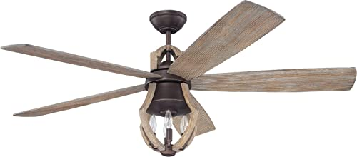 high quality Craftmade Rustic Ceiling Fan sale with Light and Remote WIN56ABZWP5 Winton, online sale Aged Bronze, Weathered Pine Blades online