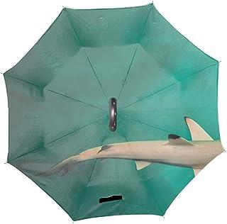 Double Layer Inverted Umbrella Shark Teeth Pattern Cars Reverse Open Folding Umbrellas