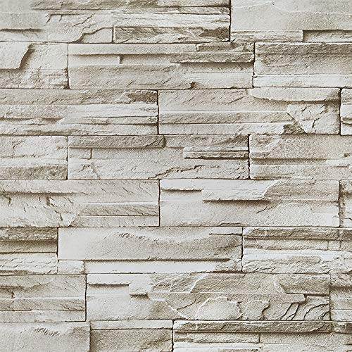 Stone Peel and Stick Wallpaper 3D Effect 17.7'x196'' Brick Self-Adhesion Wallpaper Waterproof Removable Wallpaper for Fireplace Background Wall Living Room Bedroom Bathroom Home Decoration Vinyl Roll