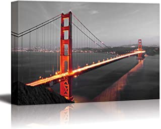 wall26 - Pop of Color The Golden Gate in San Francisco - Red Color Stands Out Against Black and White Background - Canvas Art Home Decor - 24x36 inches
