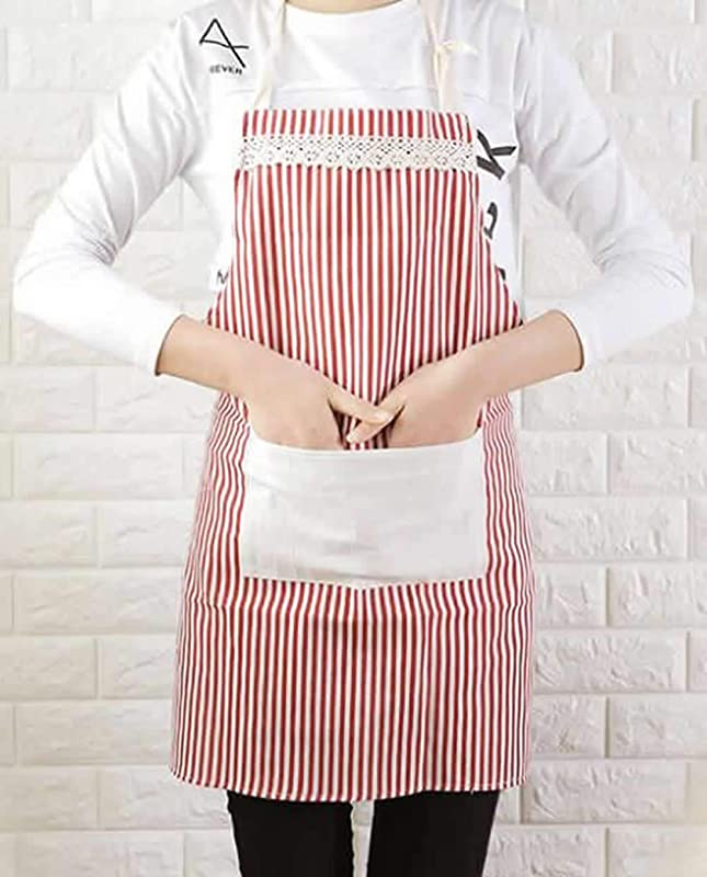 Nenluny 2pcs Lace Kitchen Restaurant Flirty Cooking Aprons For Women Girls Waitress With Pockets Stripes Apron For Gift Pink Blue