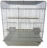 YML A1914 1/2' Bar Spacing Flat Top Small Bird Cage, White, 20' x 16'