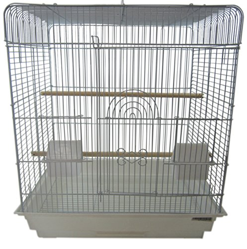 """YML A1914 1/2"""" Bar Spacing Flat Top Small Bird Cage, White, 20"""" x 16"""""""