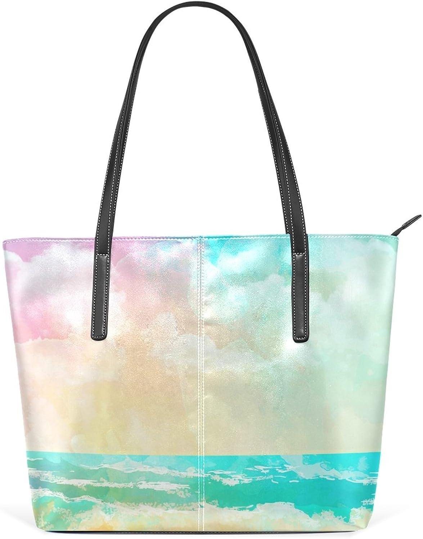 COOSUN Fantastische Sea Beach Landschaft PU Leder Schultertasche Handtasche Handtasche Handtasche und Handtaschen Tasche für Frauen B075YXLZVZ a0a456
