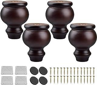 Btowin - Patas de madera maciza para muebles 4 unidades con placa de montaje y tornillos para sofá y sofá