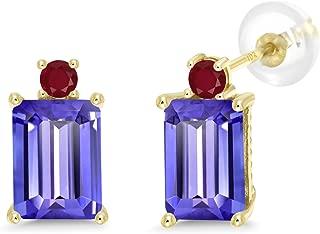 10K Yellow Gold Earrings 4.04 Ct Emerald Cut Blue Tanzanite Red Ruby