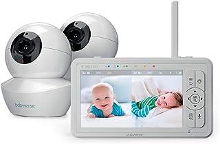 Monitor de bebé de pantalla dividida HD de 5 pulgadas, monitor de bebé con cámara y audio, dos cámaras HD con PTZ remoto, luz nocturna, rango de 960 pies, audio bidireccional, zoom 4X, visión nocturna, prueba de hack-proof