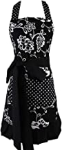 Women's Original Floral Apron with Pockets, Adjustable Long Ties for Kitchen Cooking, Baking and Gardening, 54 x 73 cm (Black)