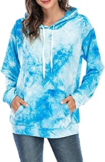 ZXFHZS Women Pullover Sweatshirt Print Hooded Tie-Dye Long Sleeve Outfits