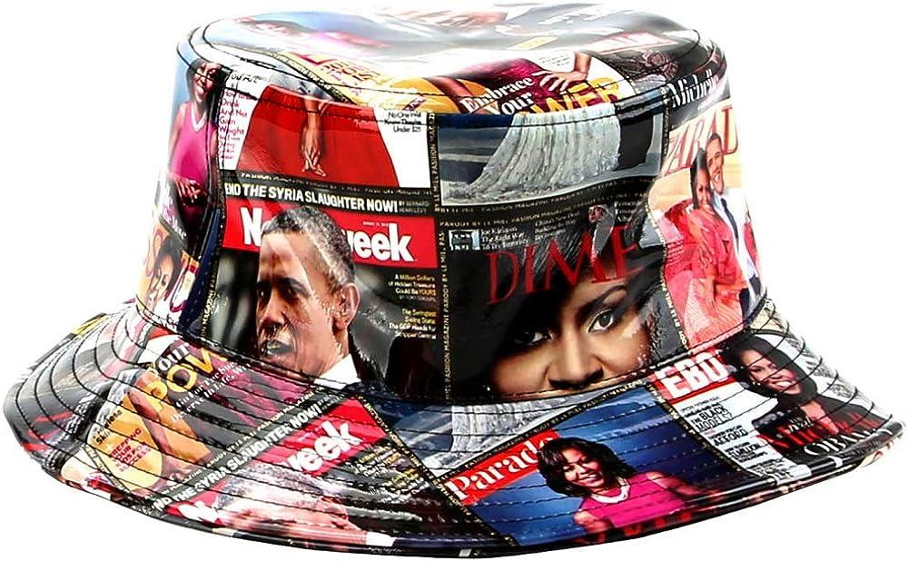 Unique Michelle Obama Magazine Cover Print Womens Patent Faux Leather Baseball Cap