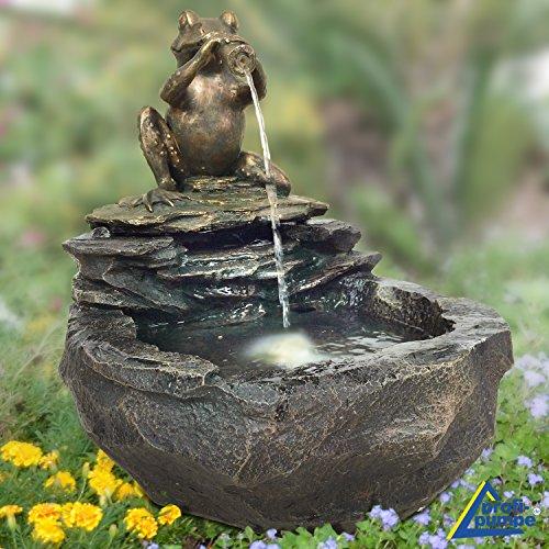 AMUR Gartenbrunnen Brunnen Zierbrunnen Zimmerbrunnen Brunnen Vogelbad Durstiger Frosch mit LED-Licht 230V Wasserfall Wasserspiel für Garten, Gartenteich, Terrasse, Teich, Balkon Sehr Dekorativ