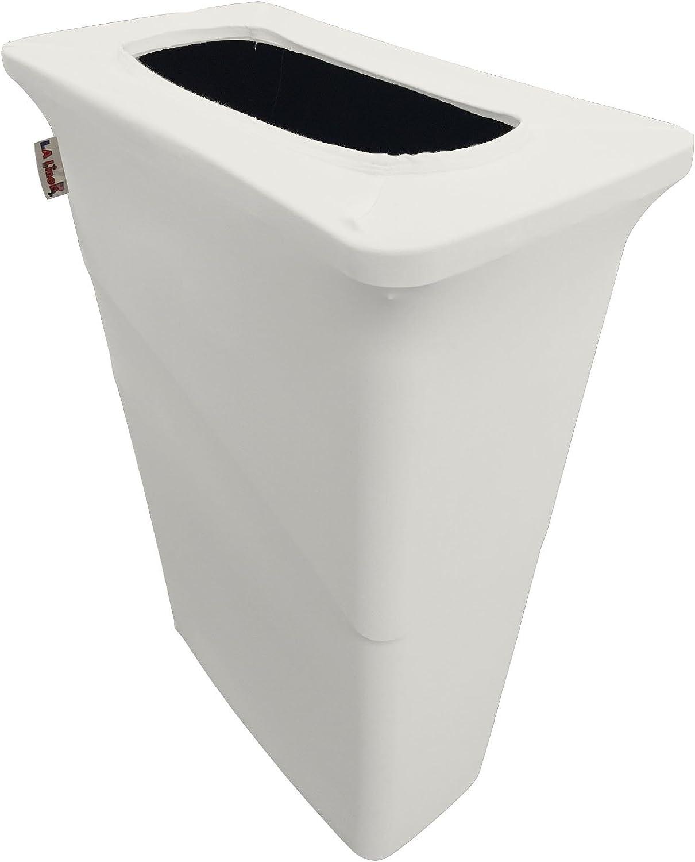 LA Linen Stretch Spandex Trash Can Cover for Slim Jim 23-Gallon, White