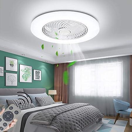 LED Ventilateur Au Plafond Lumière Dimmable Moderne 72W Fan Plafonnier Ultra-Silencieux Invisible Vitesse Du Vent Réglable Lustre Ventilateur Chambre Salon Restaurant Éclairage Lampe (Ø52CM),Blanc