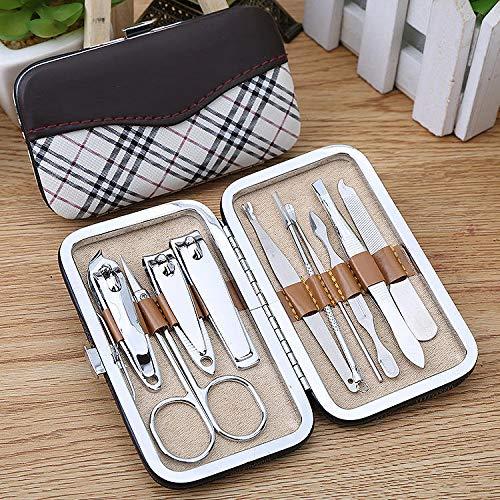 Kit de manicura y pedicura de acero inoxidable, estuche de lujo con 10 piezas