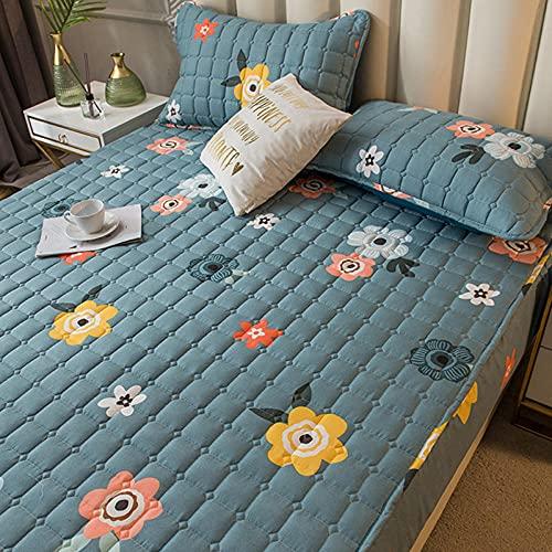 FJMLAY AjustableSábana Bajera,Sábanas de Cama Acolchadas cepilladas, protección Antideslizante para el apartamento del Dormitorio-Blue_180cmx200cm