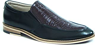 ASM Handmade Brown & Black Leather Slip on Shoes with Handmade Neolite Sole for Men.