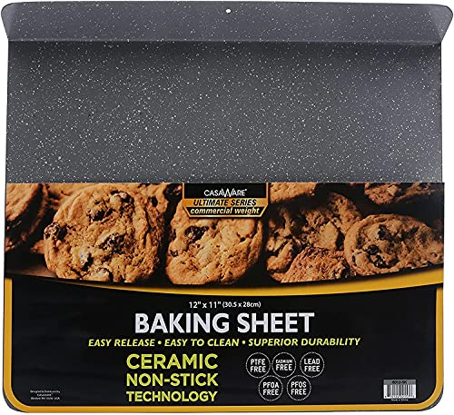 casaWare Toaster Oven 12 x 10-Inch Baking Sheet with a 1.5-Inch Handle (Silver Granite)