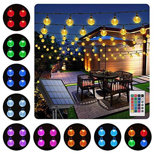 Qedertek Guirnaldas Luces Exterior Solar, 16 Colors 60 LED Cadena de Bola Cristal Luz para Exterior