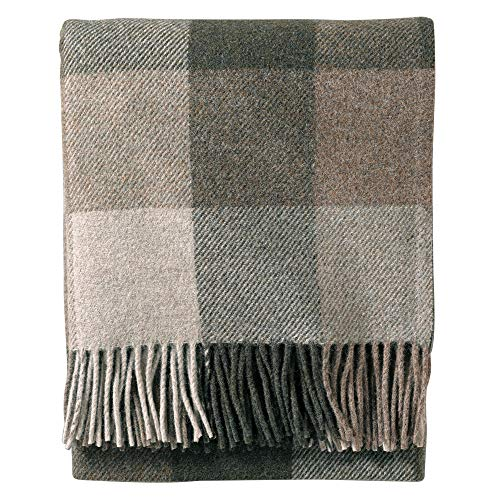 Pendleton Eco-Wise Washable Wool Fringed Throw Blanket, Juniper/Fawn, One Size