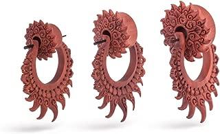 PW-336 Mystic Metals Body Jewelry Pair of Laser Engraved Snake Wood Plugs Crocodile Wood