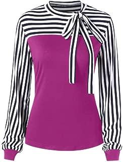 Syban Women Tie-Bow Neck Striped Long Sleeve Splicing Shirt Blouse