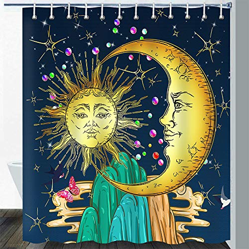 Gdmoon Sun and Moon Shower Curtain Bohemian Hippie Mountains Fantasy Galaxy Planet Stars Butterfly Bird Animal Landscape Fabric Bathroom Curtain Set with 12 Hooks 72X72In YLZFGD920