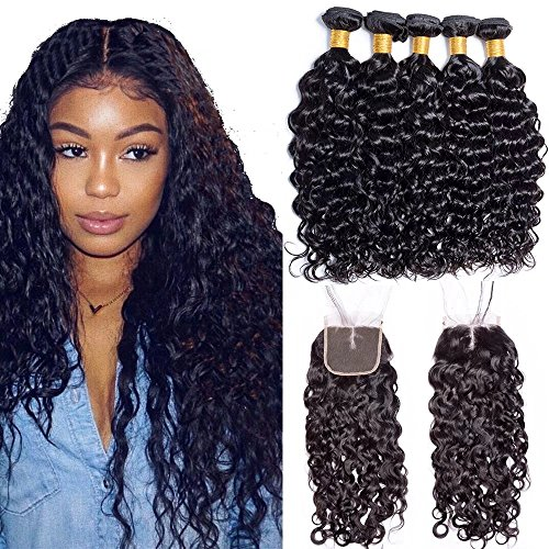 Maxine 14 16 18 with 12 Malaysian Human Hair Water Wave Hair Unprocessed Hair Weave Weft with 4x4 Middle Part Lace Closure Natural Black Color Can be Dyed