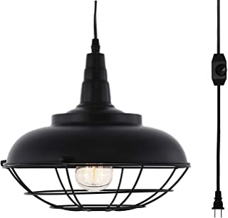 HMVPL Industrial Metal Cage Swag Pendant Light with Plug in Cord and Dimmer Switch, Hanging Ceiling Lamp for Dining Room Hallway Barn Garage, Black Finish