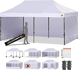 ABCCANOPY 23+Colors 10 X 20 Commercial Easy Pop up Canopy Tent Instant Gazebos with 9 Removable Sides and Roller Bag and 6X Weight Bag (White)
