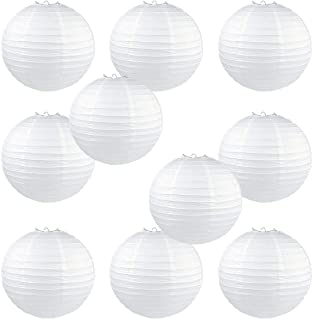 10 Pack White Round Paper Lanterns 8 inch Birthday/Wedding/Party Ceiling Hanging Decoration