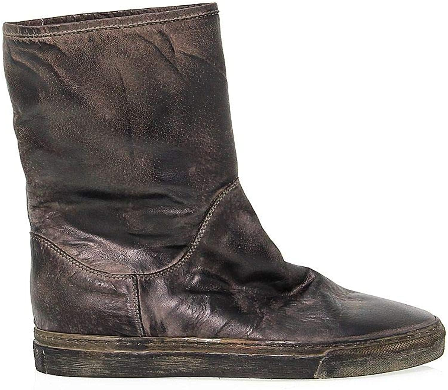 SAN CRISPINO Women's 137BROWN Grey Leather Ankle Boots