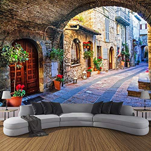 Eigen 4D muurschildering groot wallpaper, Italiaanse stad Street View Europese landschap, moderne Hd zijde muurschildering poster afbeelding TV sofa achtergrond muur decoratie voor woonkamer 380cm(W)×240cm(H)|12.46×7.87 ft