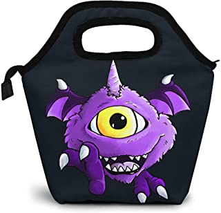 Men's One Eyed One Horned Flying Purple People Eater Graphic Lunch Bag, Lunch Tote,Reusable Insulated Thermal Lunch Bag,Small Lunch Box Carry Case Handbags Tote With Zipper For Adults Kids