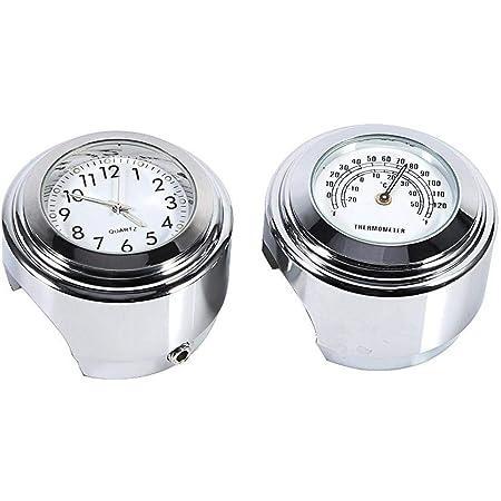 "Suuonee Handlebar Mount Watch, 1 Pair 7/8"" 1"" Motorcycle Handlebar Mount Watch Motorcycle Clock Dial Clock & Thermometer Temp White"