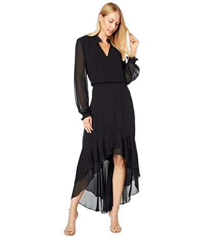 1.STATE Long Sleeve Mock Neck High-Low Dress