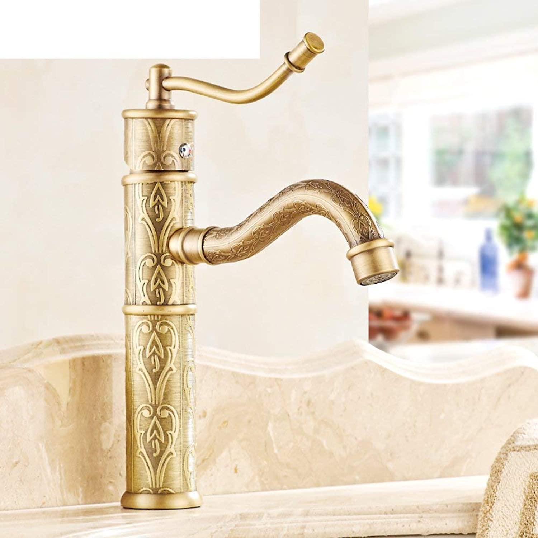 Oudan Platform basin washbasin washbasins European all-copper hot and cold antique bamboo bathroom faucet Creative-A (color   -, Size   -)
