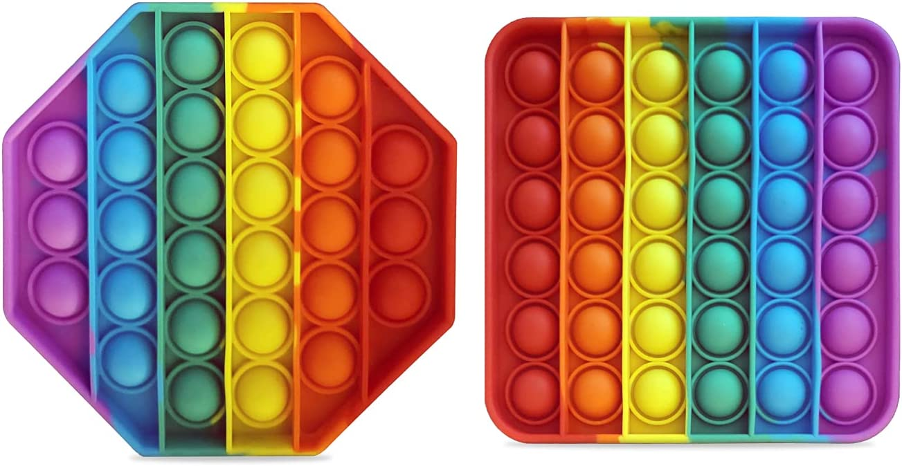 Chaljuphi 2 Pack Pop It Fidget Toy Bubble Sensory Toys, Push Fid