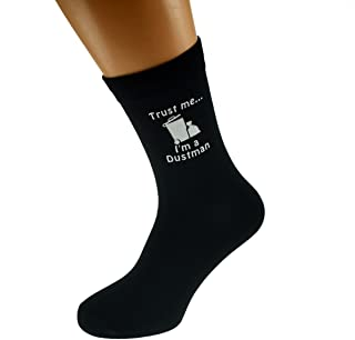 Trust me I'm a Dustman & Rubbish Bin Image Design Mens Black Cotton Rich Socks