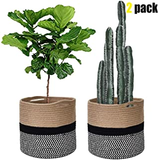 Cotton Rope Plant Basket 11 Inch-Fit 10 Inch Plant Pot,Modern Floor Indoor Planters,Cute&Samll Storage Organizer Woven Basket Home Decor-Beige Black&White Stripes Set of 2 by Kriitools