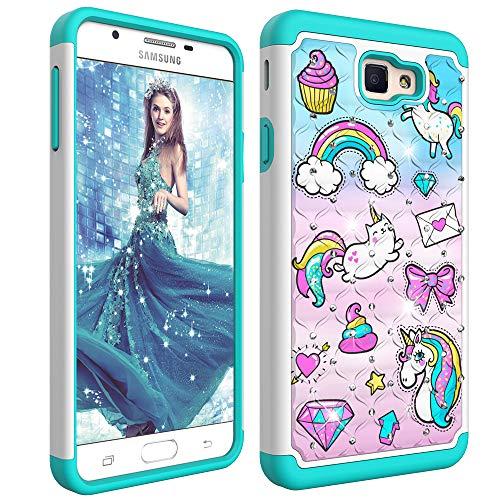 Funda para Samsung Galaxy J7 Prime / On7 (2016) Estuche 2 en 1,Soft Silicona Caja+Hard Cover,Anti-Choque Carcasa Samsung J7 Prime 2016 Funda Con Bling Glitter Rhinestone Brillante Diamante,Unicornio-1