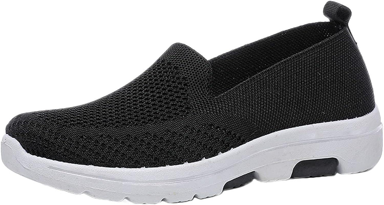 Ezeerae Women Slip Quantity limited On online shop Knit Casu Women's Loafers Walking Athletic