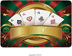 Bathroom Rug, Poker Tournament,Gambling Fortune Wealth Playing Cards Hand Roulette Winning Print Decorative,Multicolor, Bath Mat,Non-Slip Entry Door Carpet Soft Machine-Washable Floor Rugs For Bathtub