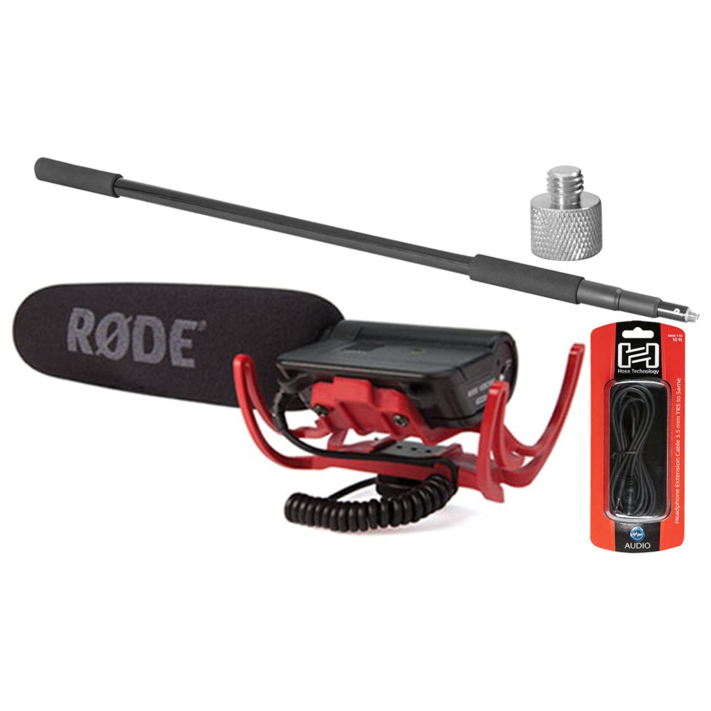 Rode VideoMic Shotgun Condenser Microphone w/ Boom Pole, 10' Extension Cable, and Adaptor