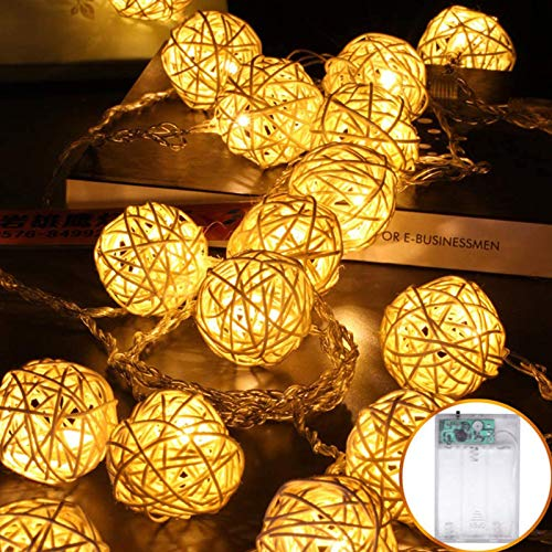 Led String Lights 5M 40 Led Rattan Balls Fairy Lights Battery Powered Festoon Lights for Rooms Patio Gazebo Wedding Xmas Party Decor (Warm White)