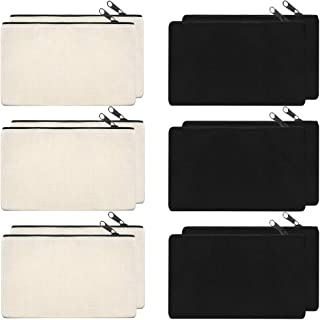 SAKOLLA 12 Pack Canvas Zipper Bags, Multi-Purpose Blank DIY Craft Pouches for Makeup, Travel, Party Gift, Organize Storage (Black,White, 8 x 5)