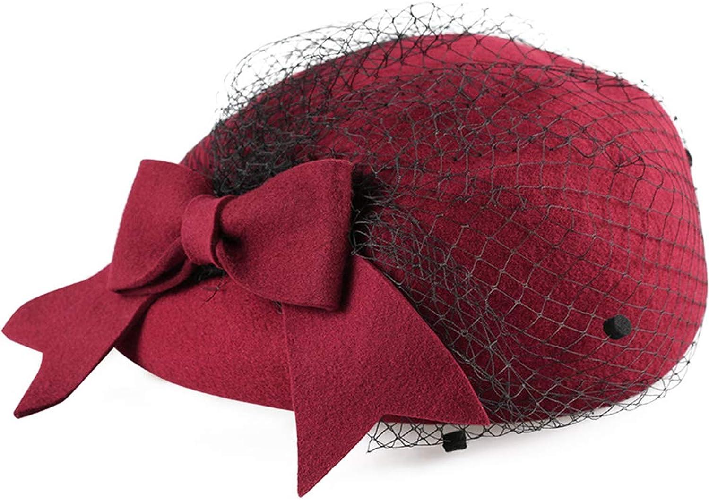 Nafanio Winter Ladies Wool Hats Gauze Beret Casual Wild Hat Women Mesh Feathers Fascinators Beret for Tea Patry