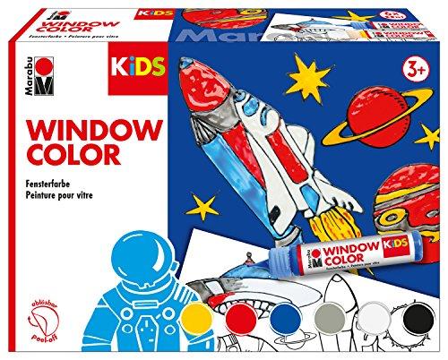 Marabu 0306000000001 - Kids Window Color Weltall, Farbe auf Wasserbasis, ablösbar auf glatten Flächen wie Glas, Spiegel, Fliesen & Folie, 6 x 25 ml Farbe, Malvorlage A3 mit 18 Motiven & Folie A4