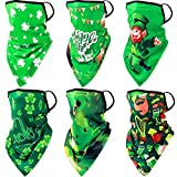 6 Pieces Irish Green Bandanas Face Covering Scarf with Ear Loops St. Patrick's Day Milk Silk UV Protection Neck Gaiter Headwear Balaclava for Men Women