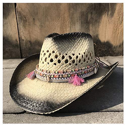XYAL0003001 Xingyue Aile Hoeden & Caps Zomer Dames Rieten Strandhoed, Cowboy Western Cowgirl Fedora Hoed, Holle Tassel Sombrero Hombre Lifeguard Hoeden